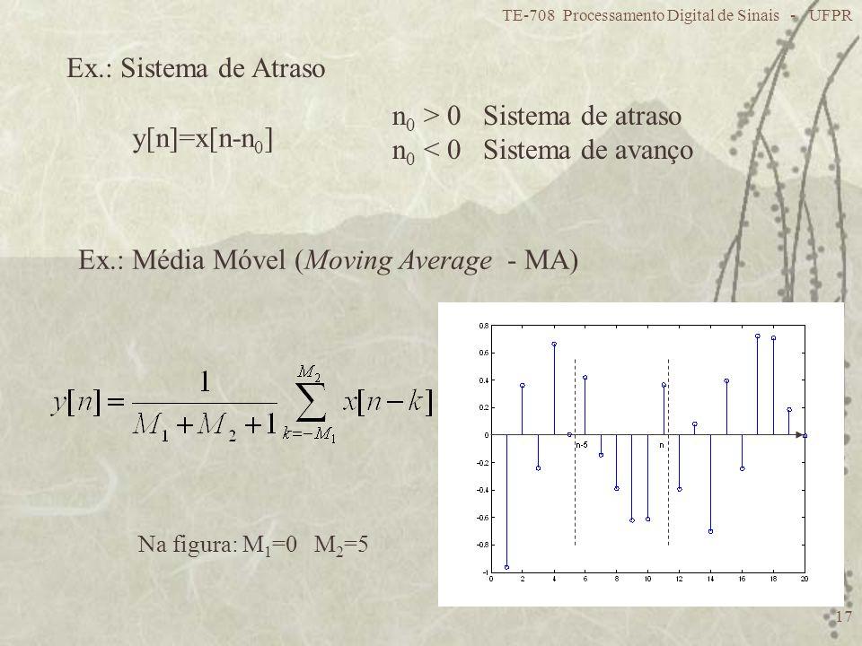 n0 > 0 Sistema de atraso n0 < 0 Sistema de avanço y[n]=x[n-n0]